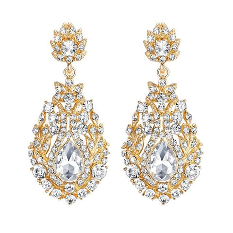 Large Wedding Drop Earrings for Women Vintage Crystal Bridal Dangle Earrings Fashion Jewelry