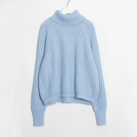 Women Turtleneck Chunky Oversized Sweater Full Sleeve Women Knit Sweaters Solid Pullover And Jumper Autumn Winter