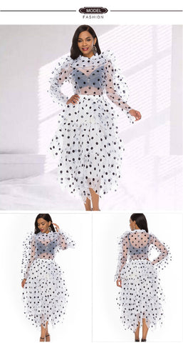 2 Pieces Sets Women Blouse Skirts Polka Dot Suits Ruffles Thin Transparent Shirts Elegant Skirts Lady Fashion Summer Spring