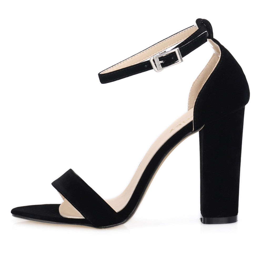 da629b59c81 Women Open Toe Ankle Straps Sandals High Heels Summer Suede Thick Heel  Pumps ...