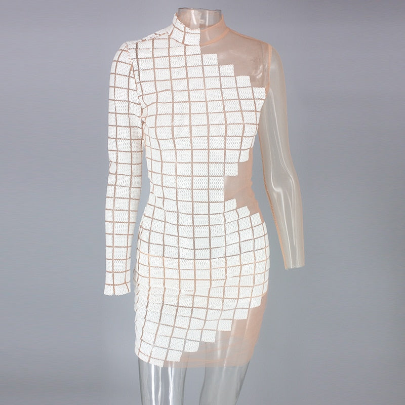 One Shoulder Plaid Sequin Party Dresses Women Hollow Out Sexy Dress Turtlenck Mini Autumn Winter Dress