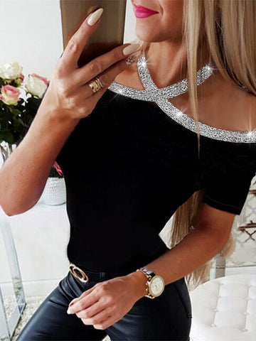 Summer Women Elegant Basic Casual Top Lace-up Leisure Shirt Rhinestone Details Halter Short Sleeve Blouse