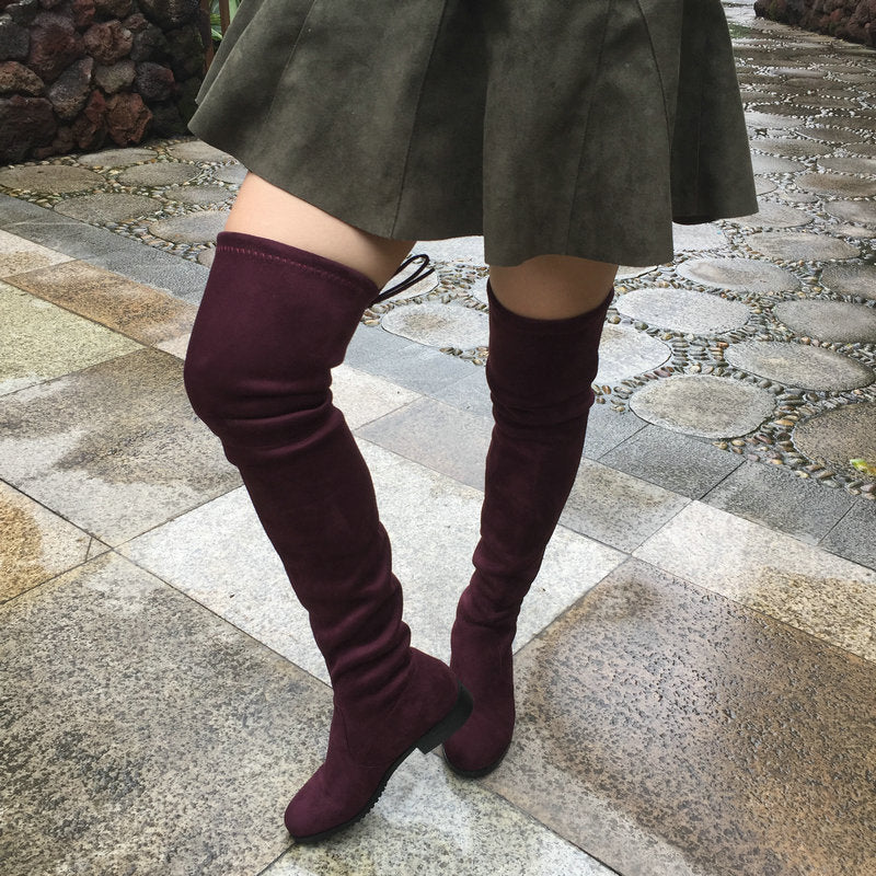 6b30ca5de664 ... Women Stretch Suede Over the Knee Boots Flat Thigh High Boots Sexy  Fashion Shoes ...