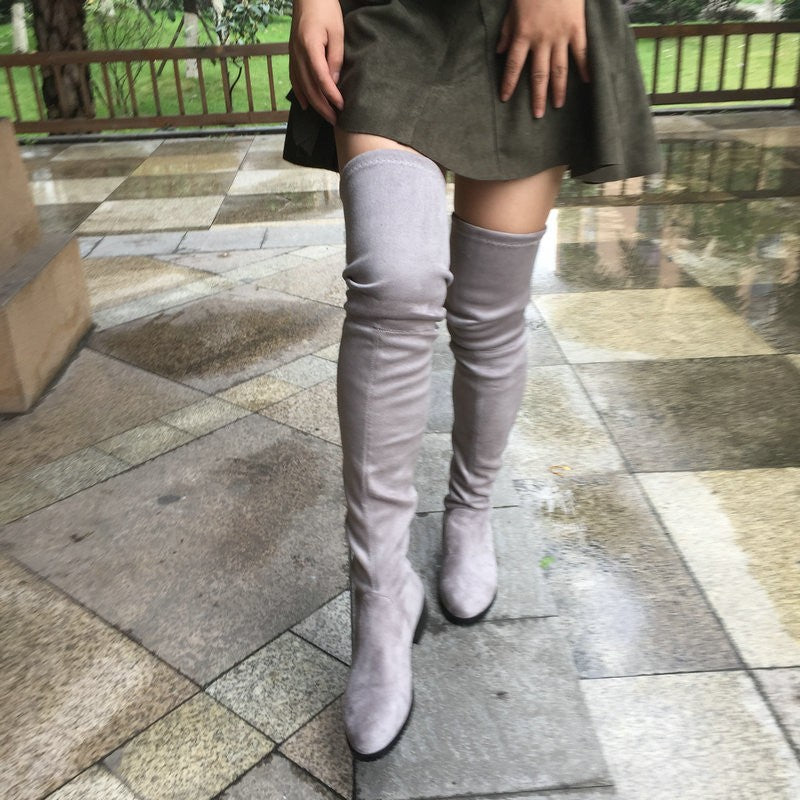 ba625afc11b ... Women Stretch Suede Over the Knee Boots Flat Thigh High Boots Sexy  Fashion Shoes ...