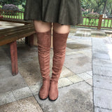 Women Stretch Suede Over the Knee Boots Flat Thigh High Boots Sexy Fashion  Shoes