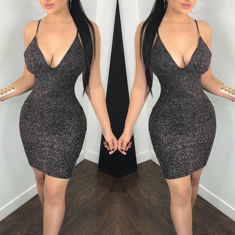 Summer Women Bandage Bodycon Evening Party Short Mesh Mini Dress Sheath Deep V Neck Backless Dress