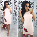 Short Sleeve Casual Dresses Summer Fashion Rose Appliques Simple Style Straight Dress Women O-neck Party Mini-dresses