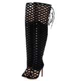 Women Summer Long Boots Over The Knee Gladiator Open Toes Boots High Heel shoes