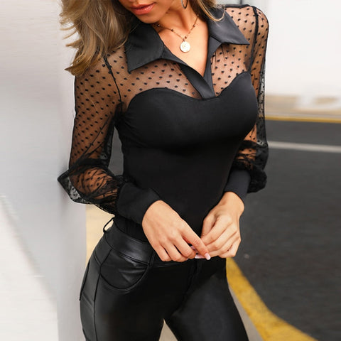 Sexy Long Sleeve Vintage Polka Dot Mesh Transparent Blouse Shirt See Through Women Tops And Blouses Elegant Ladies Tops