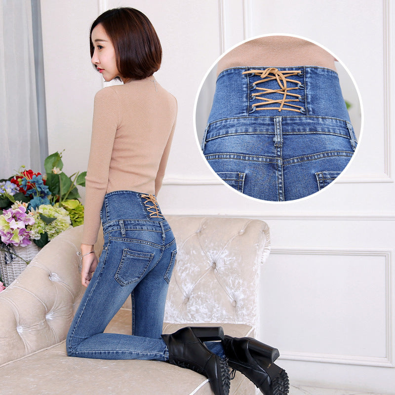 Autumn Spring Jeans Women High Waist Elastic Skinny Denim Long Pencil Pants Back Trousers - Style Lavish