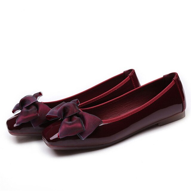 Spring Fashion Women Soft Flat Butterfly Knot Ballet Flats Low Heels Shoes
