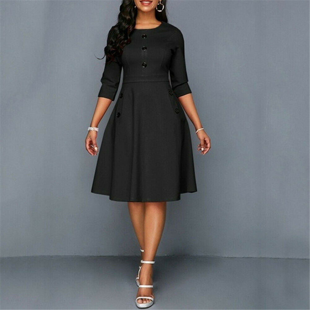 Fashion Women Retro Tunic 3/4 Long Sleeved Solid Bodycon Dresses OL Ladies Summer O-Neck Solid Button Vintage Dress