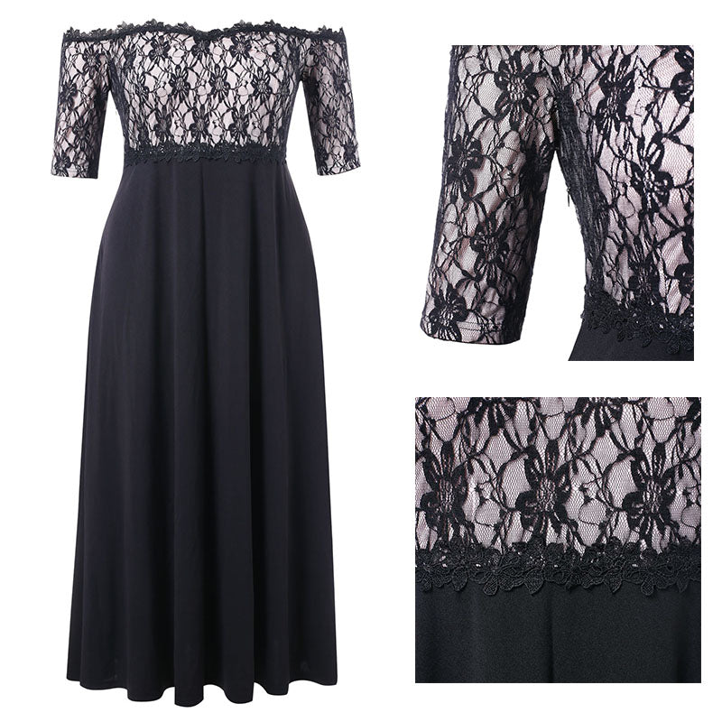 Lace Applique Floor Length Dress Women Elegant Off The Shoulder 3/4 Sleeves A-Line Dress Party Dresses