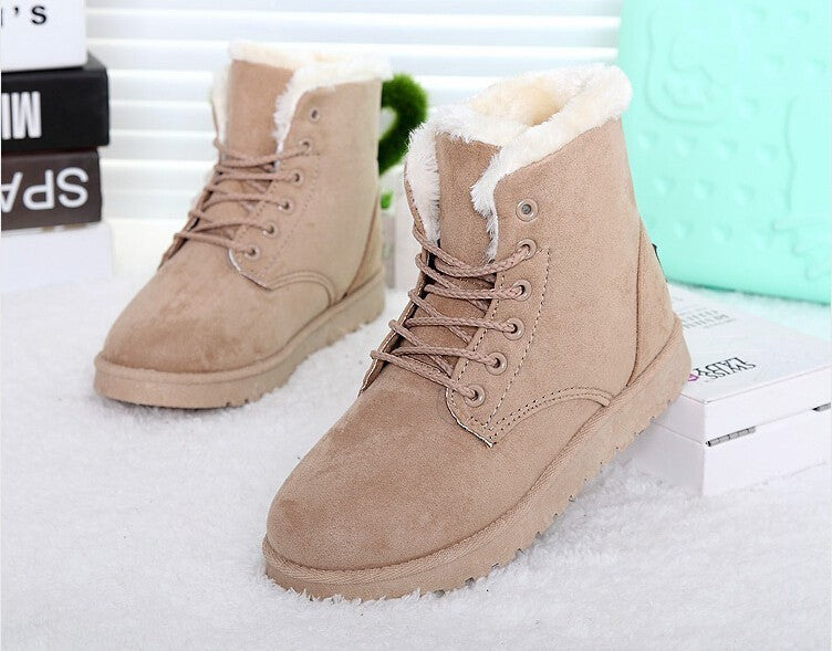 Women Boots Lace Up Fur Shoes Warm Winter Snow Ankle Boots