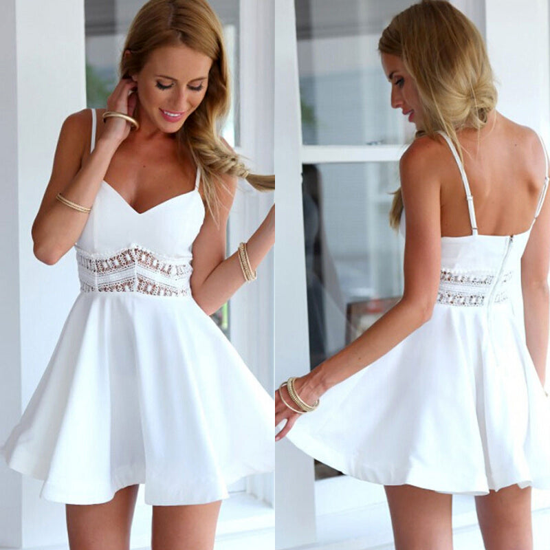 Summer Stitching Lace Halter Suspenders Big Swing Dresses Women Casual V Neck Sleeveless Mini Dress