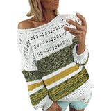 Knitted sweater women pullover sweater Stripe O-Neck Hollow Out Long Sleeve Sweater Top pull