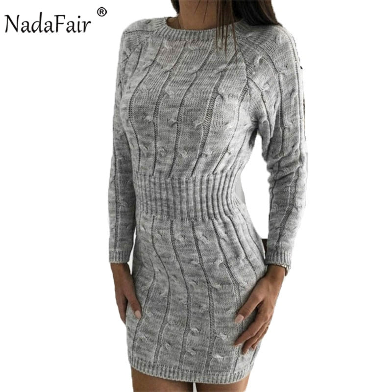 Women Dress Casual Long Sleeve Sweater Dress Winter Twist Elegant Mini Bodycon Autumn Warm Knitted Dress Pull