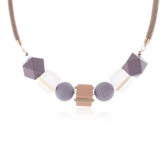 Women Necklace Statement Necklaces & Pendants Wood Beads Necklace For Women Jewelry