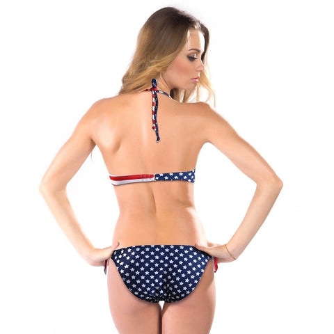 Button Up Bikini American Flag Sexy Swimsuit Women Underwear High Waist  Bikini