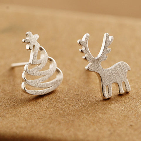 Women Fashion Authentic 925 Sterling Silver Stud Earring Christmas Deer Tree Earrings Girls Christmas Gift Jewelry