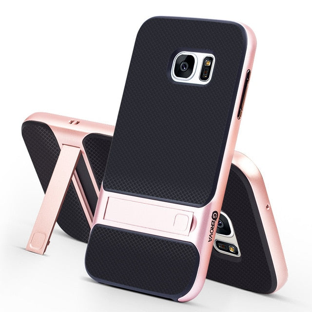 "BInnovative 3D Hybrid Case for Samsung Galaxy S7 Kickstand Silicone Cover 5.1"" TPU+PC Royce 360 Full Protective Fundas"