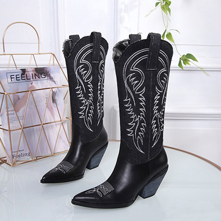 Cowboy Boots Women Pointed Toe Chunky High Heel knight Boots Embroider Retro Style Woman  Knee High Boots