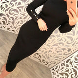 Women Fashion Sexy Bodycon Dress Autumn Winter Knitted Midi Dress Solid Long Sleeve Package Hip Dress