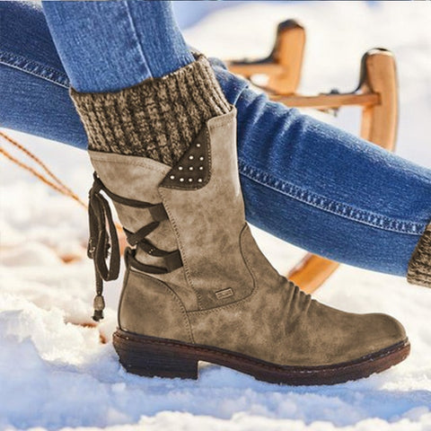 Women Winter Mid-Calf Boots Flock Winter Shoes Ladies Fashion Snow Boots Shoes Thigh High Suede Warm Boots