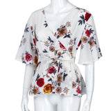 Summer Women Blouse Sexy V Neck Floral Print Flare Sleeve Belted Surplice Peplum Tops And Blouse