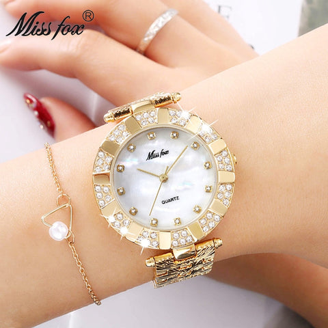 Miss Fox Women Watch Luxury Brand Fashion Casual Ladies Gold Watch Quartz Simple Clock Relogio Feminino Reloj Mujer Montre Femme