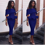 Sexy Off Shoulder Ruffle Midi Dress Women Sexy Slim Pencil Bodycon Party Dress