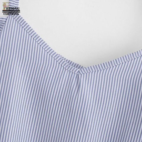 Women Summer Blue Striped Pinstripe Blouse Cold Shoulder Top Slash Neck Fashion  Blouses Summer Tops