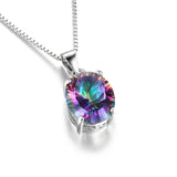 2.5ct Rainbow Fire Mystic Topaz Concave Oval Pendant 925 Sterling Silver Fine Jewelry For Women - Style Lavish