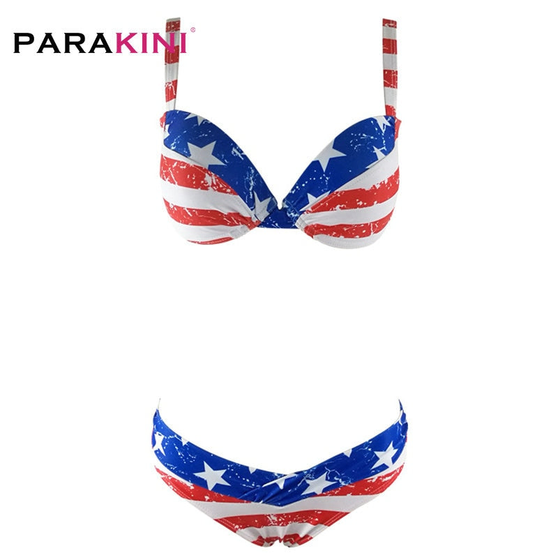 High Waist Flag Bikinis Set Women Pattern Swimsuit Digital Printing Push Up Woman Biquini Swimming Bathing Suit