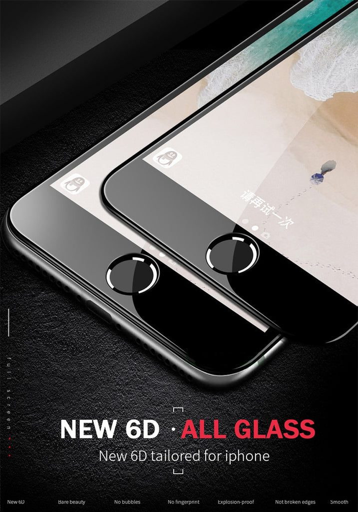 6D Full Cover Tempered Glass For iPhone 8 7 6 6S Plus X XS MAX glass iphone 7 8 x screen protector Protective glass on iphone 7