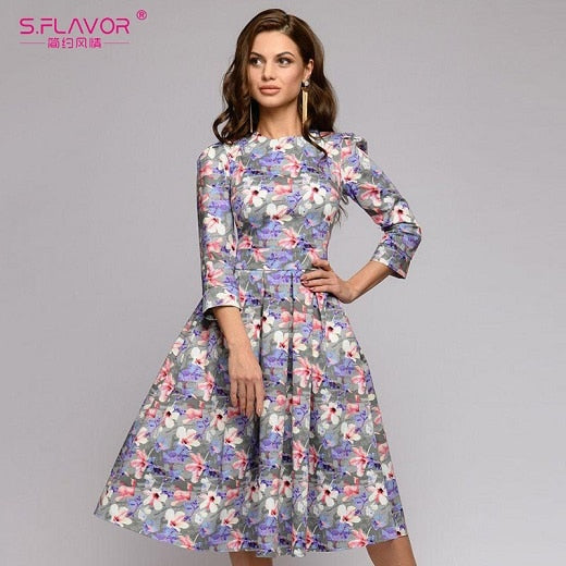 Women Summer Midi Dress Hot Sale Elegant Printing A-line Dress For Female O-neck Long sleeve Vintage Casual