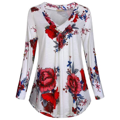 Women Tunic Shirt  Autumn Long Sleeve Floral Print V-neck Blouses Tops With Button Women Shirt