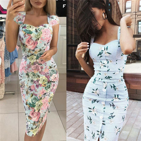 Women Sexy Deep V neck Dress Floral Bodycon Party Dress High Waist Bandage Summer Dress