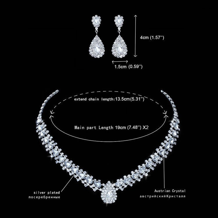 Women Silver-color Necklace Long Earrings African Beads Crystal Wedding Jewelry Set