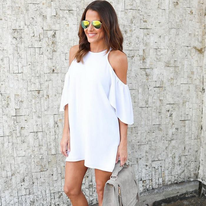 Women Fashion Solid Casual Bare Shoulder Summer Short Sleeve Above Kenn O-Neck Dress None