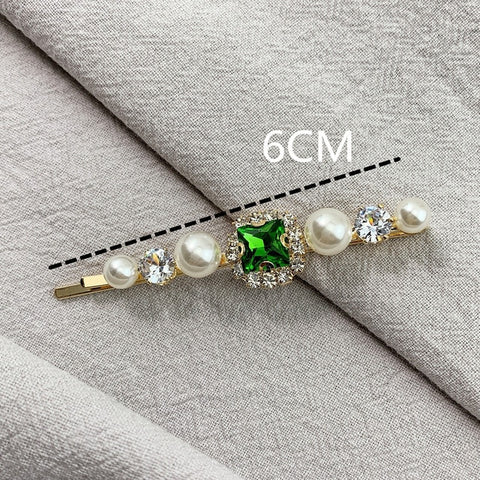 1PCS Korea Vintage Emerald Hairpins Geometrical Rhinestones Hair Clips For Women Girls Hair Accessories Barrette