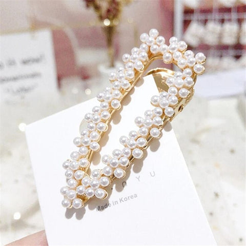Girl Pearl Crystal Hair Clips Temperament Full Diamond Rhinestone Pearl Elegant Barrettes Hairgrips Women Hair Accessories