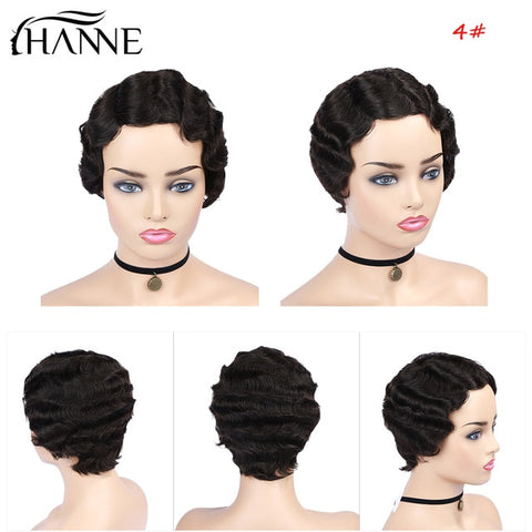 Hair Pixie Cut Wigs Short Human Hair Wigs Wavy Wig Brazilian Remy Hair Free Part Wig for Black/White Women