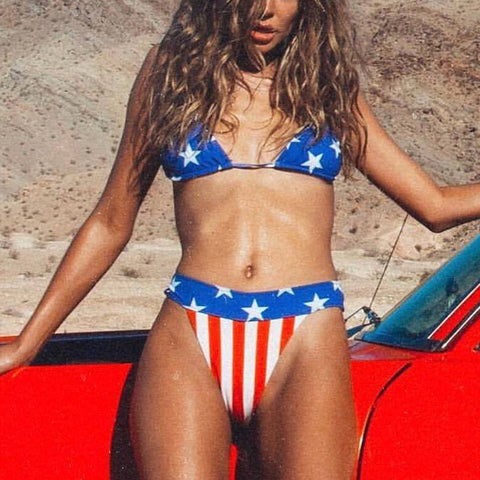American Independence Day Flag Split Bikini Women American Flag The fourth of July Two Pieces Bikini Swimwear Beachwear Biquini
