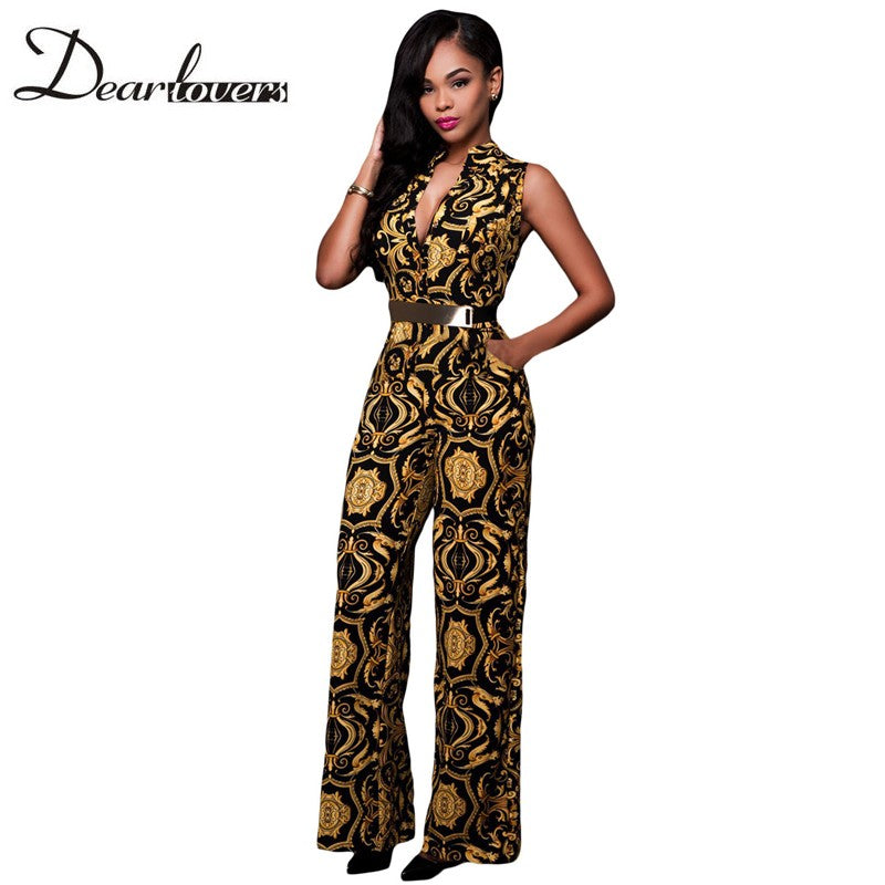 Elegant Jumpsuit Long White Yellow Tapestry Print Belted Overalls For Women Casual - Style Lavish