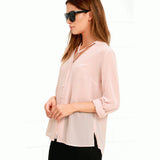 HDY Haoduoyi Solid Color Fashion Women Fashion Shirts Single Breasted V Neck Long Sleeve Blouse Casual Chiffon Shirt - Style Lavish