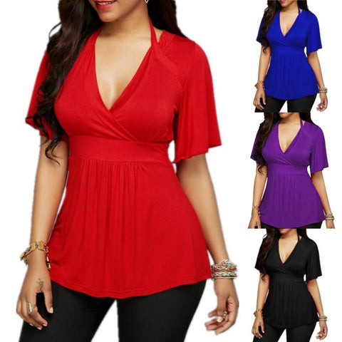 Summer Women Solid Color V-neck Halter Short Sleeve T-Shirt Top
