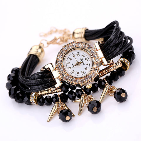 Fashion Women Dress Watch Pearl Crystal Stone Ladies Bracelet Watch Multilayer Luxury Quartz Wristwatch - Style Lavish