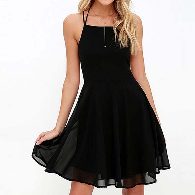 Sexy Spaghetti Strap Backless Lace-Up Dress A-Line Mini Party Dress Summer Dresses For Dancing Women Dress