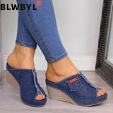 Women Sandals Women Summer Fashion Leisure Fish Mouth Sandals Thick Bottom Slippers Wedges Shoes